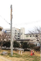 御蔵北公園【鎮魂碑・被災電信柱】